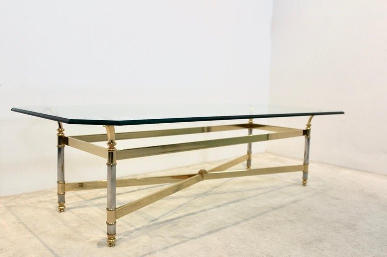 Extraordinary Brass, Chrome and Glass Center Table, France, 1970s For Sale 4