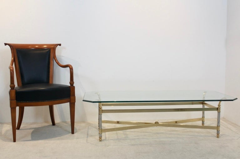 Extraordinary Brass, Chrome and Glass Center Table, France, 1970s For Sale 5