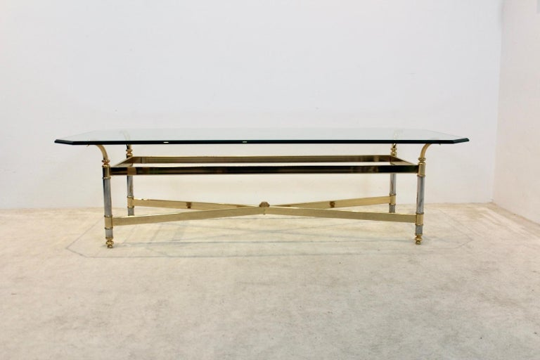Extraordinary Brass, Chrome and Glass Center Table, France, 1970s For Sale 6