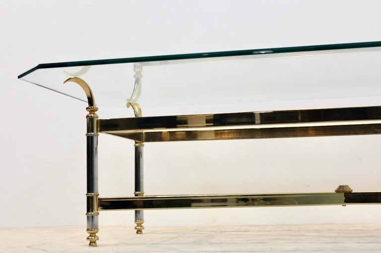 Mid-Century Modern Extraordinary Brass, Chrome and Glass Center Table, France, 1970s For Sale