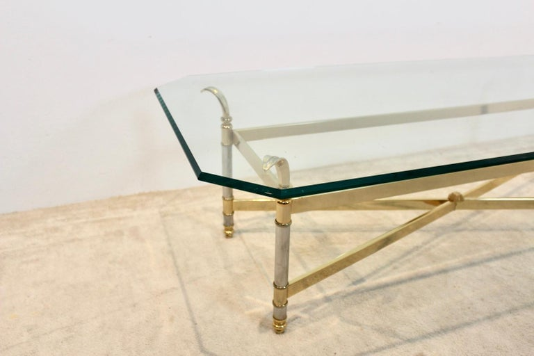 French Extraordinary Brass, Chrome and Glass Center Table, France, 1970s For Sale