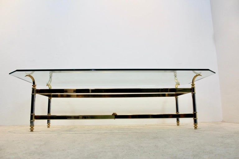 Extraordinary Brass, Chrome and Glass Center Table, France, 1970s In Good Condition For Sale In Voorburg, NL