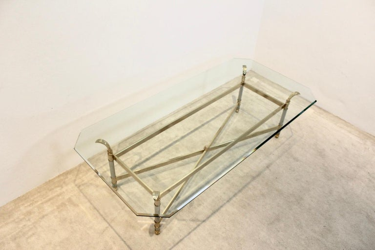 20th Century Extraordinary Brass, Chrome and Glass Center Table, France, 1970s For Sale