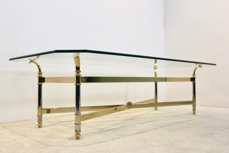 Extraordinary Brass, Chrome and Glass Center Table, France, 1970s For Sale 1