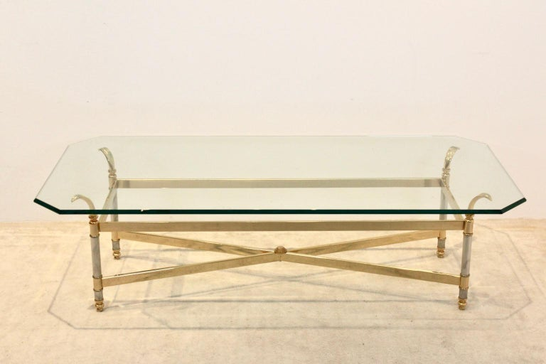 Extraordinary Brass, Chrome and Glass Center Table, France, 1970s For Sale 2