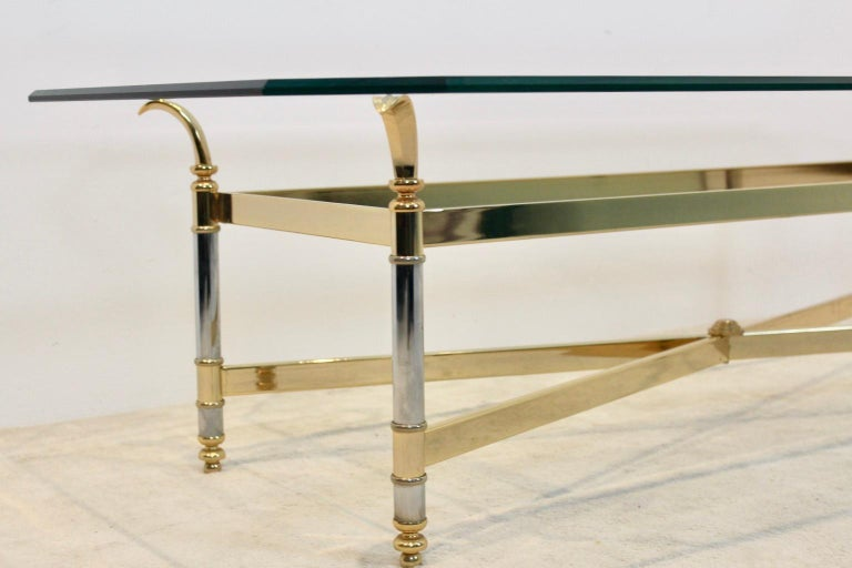 Extraordinary Brass, Chrome and Glass Center Table, France, 1970s For Sale 3