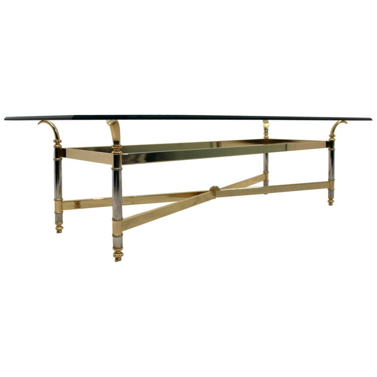 Extraordinary Brass, Chrome and Glass Center Table, France, 1970s For Sale