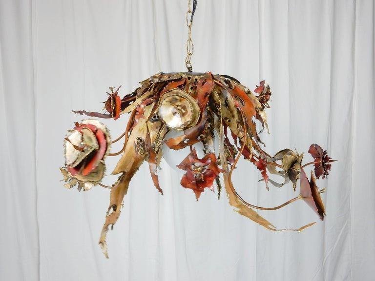 American Artist Silas Seandel Brass & Copper Sculpture Chandelier  For Sale