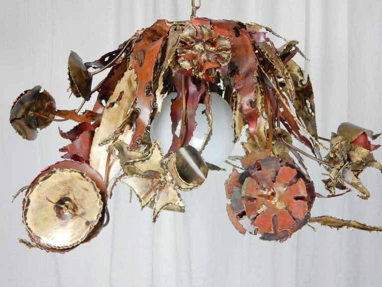 Artist Silas Seandel Brass & Copper Sculpture Chandelier  In Good Condition For Sale In Las Vegas, NV