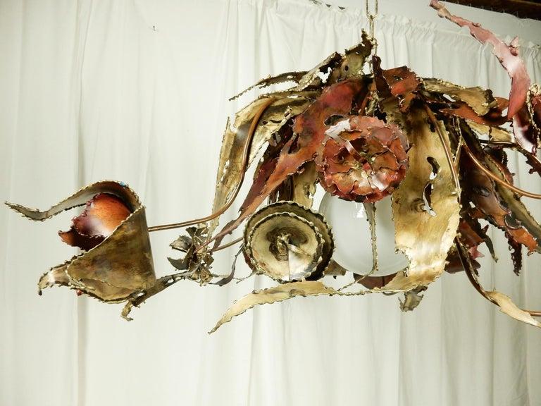 Welded Artist Silas Seandel Brass & Copper Sculpture Chandelier  For Sale