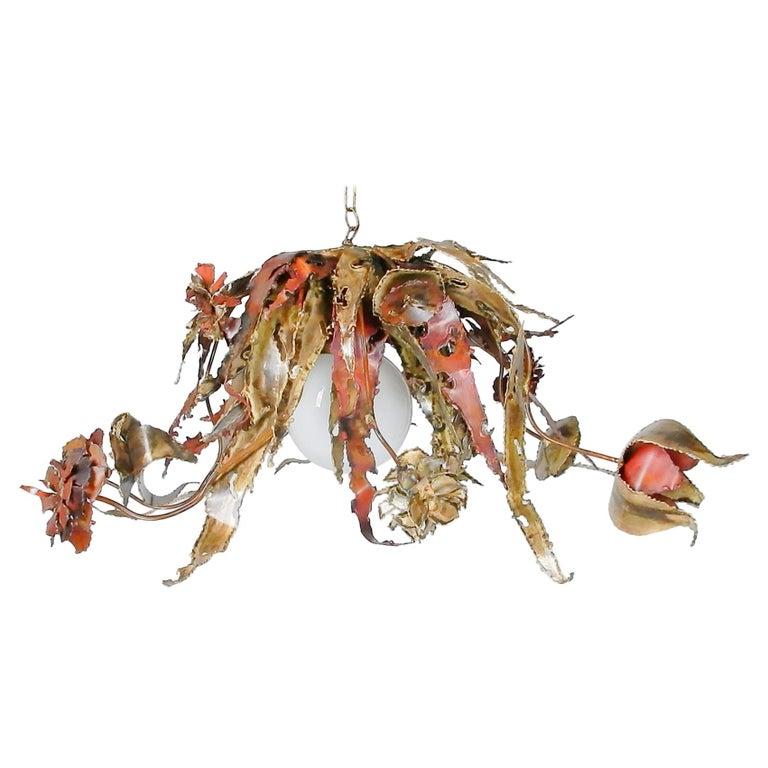 Artist Silas Seandel Brass & Copper Sculpture Chandelier  For Sale
