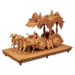 Extraordinary Carved Hindu Figural Sculpture with Krishna and Arjuna in The Triu