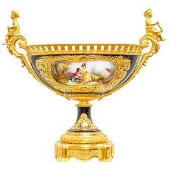 Extraordinary Centerpiece Sèvres Porcelain and Bronze, France, 1850s