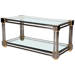 Extraordinary Custom Brass and Gun Metal Steel Coffee Table