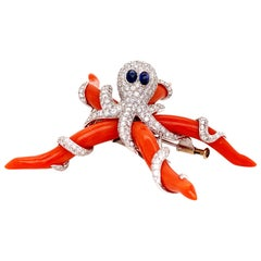 Extraordinary Design 32.12 Carat Octopus Coral and Diamond with Sapphire Brooch