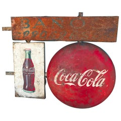 Extraordinary Double Sided  Mexican Coca Cola 5ft Sign, 1950s