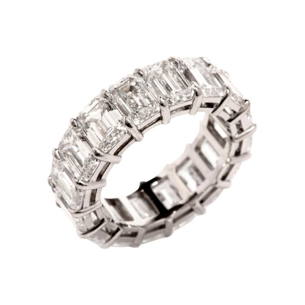 Extraordinary Emerald Cut 12.14 Carat GIA Diamond Eternity Band Ring
