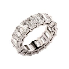 Extraordinary Emerald Cut 12.14 Carat GIA Diamond Eternity Band Ring