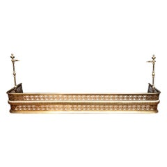 Extraordinary English Pierced Brass Fireplace Fender with Tool Stands