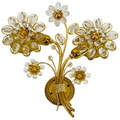 Extraordinary Floral Crystal Glass Sconce by Palwa, Germany, 1960s