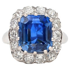 GIA 9.00 Carat Unheated Ceylon Sapphire Ring