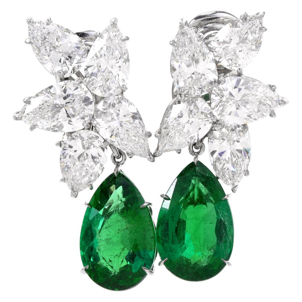 Extraordinary GIA Diamond Emerald Platinum Clip-On Earrings