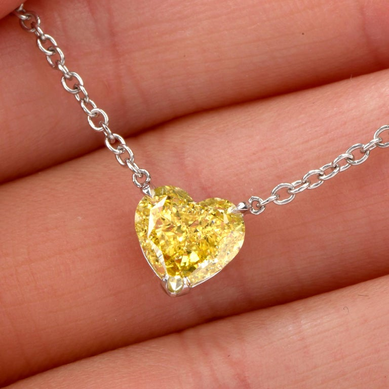Extraordinary GIA Natural Fancy Intense Yellow Diamond Heart Necklace For Sale 1