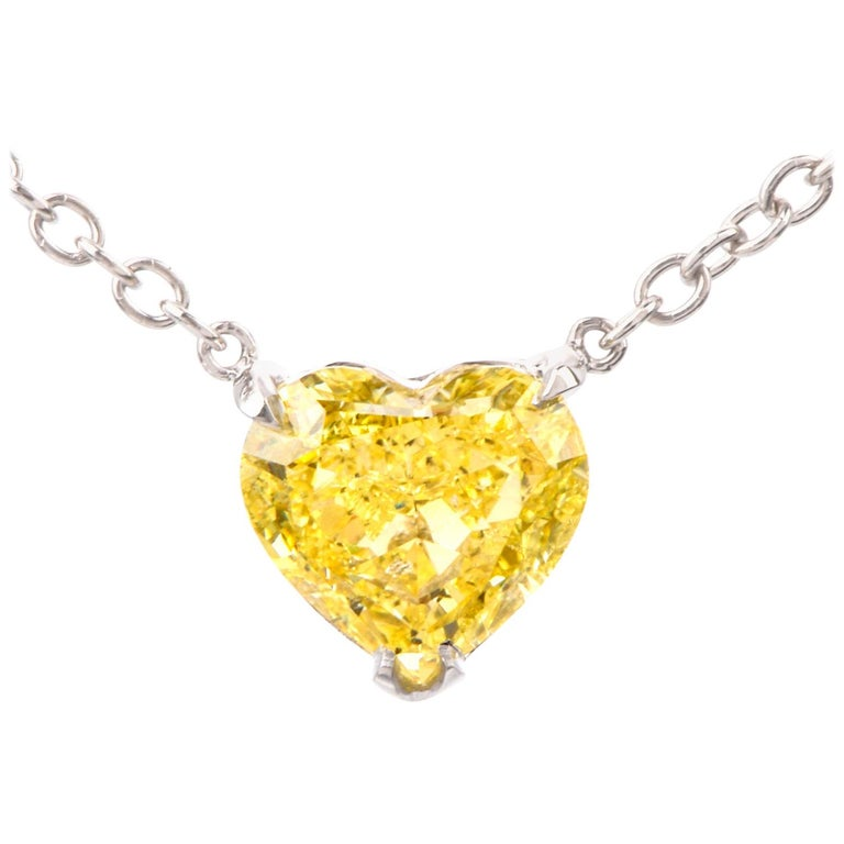 Extraordinary GIA Natural Fancy Intense Yellow Diamond Heart Necklace For Sale