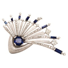 Extraordinary Gubelin Sapphire and Diamond Brooch in 18 Karat White Gold
