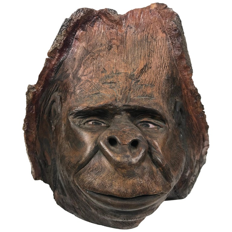 "Extraordinary Hand-Carved from Knot of a Tree, Folk Art Sculpture ""Gorilla"" For Sale"