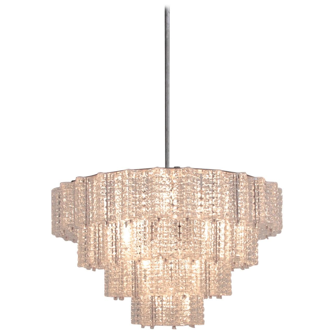 Extraordinary Huge and Rare Glass Chandelier by Austrolux