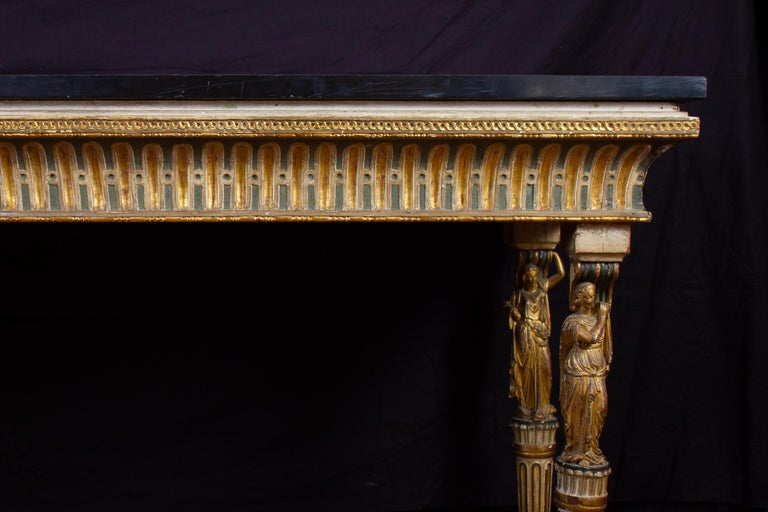 Extraordinary Italian 18th Century Console Table with Mirror, 1780 For Sale 3