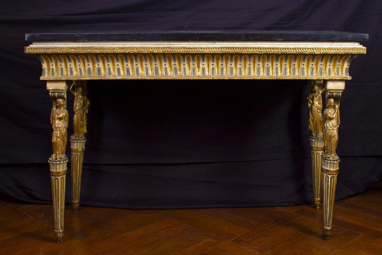 Louis XVI Extraordinary Italian 18th Century Console Table with Mirror, 1780 For Sale