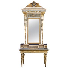 Extraordinary Italian 18th Century Console Table with Mirror, 1780