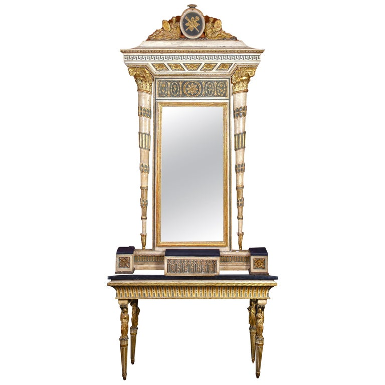 Extraordinary Italian 18th Century Console Table with Mirror, 1780 For Sale