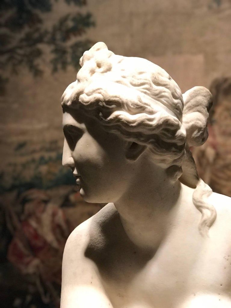 Hand-Carved  Extraordinary Italian 19th Century Marble Statue of Aphrodite For Sale