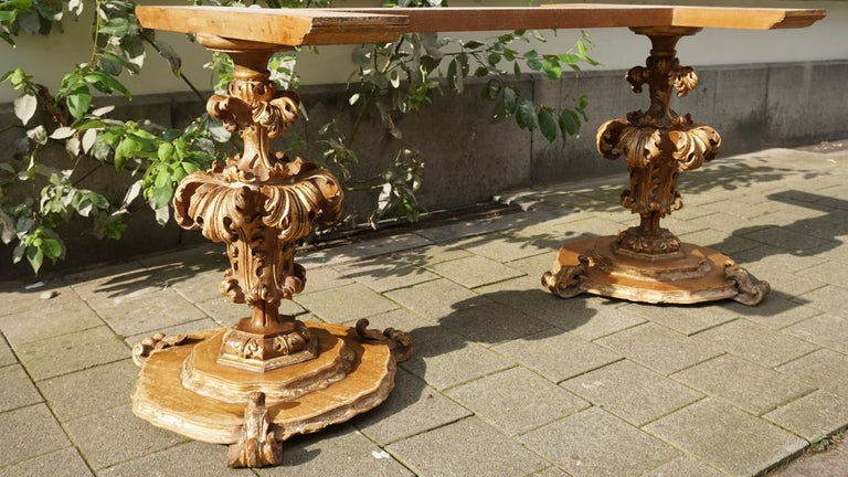 Extraordinary Italian Baroque Gilt Wood Table Supports Early 18th Century For Sale 7