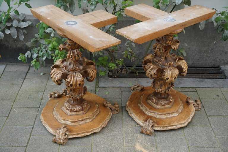 Extraordinary Italian Baroque Gilt Wood Table Supports Early 18th Century For Sale 9