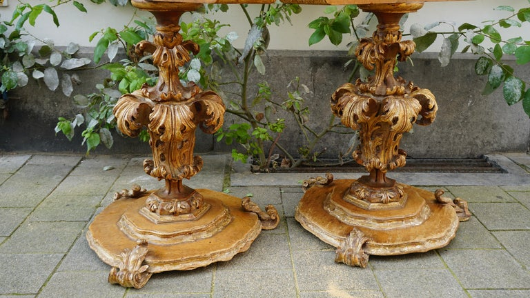 Extraordinary Italian Baroque Gilt Wood Table Supports Early 18th Century For Sale 10