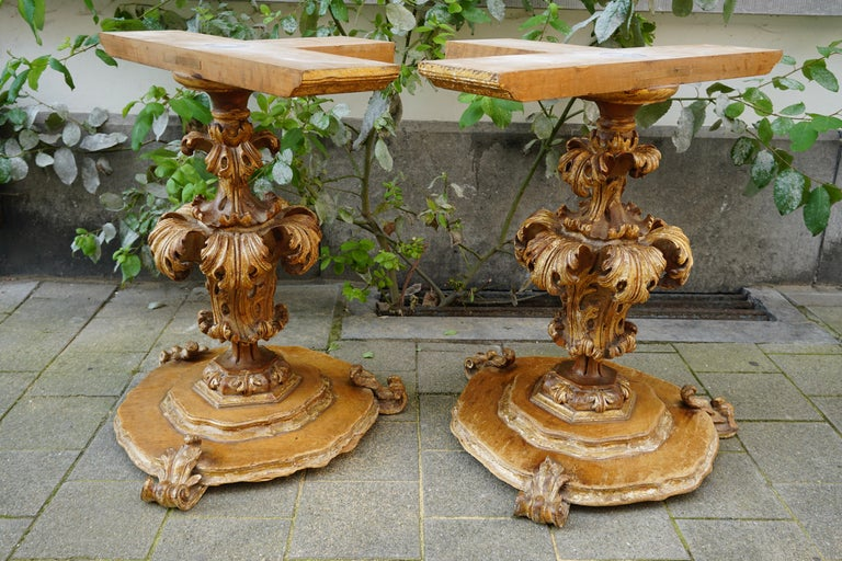 Extraordinary Italian Baroque Gilt Wood Table Supports Early 18th Century For Sale 11