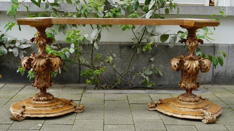 Hand-Carved Extraordinary Italian Baroque Gilt Wood Table Supports Early 18th Century For Sale
