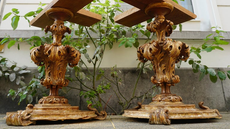 Extraordinary Italian Baroque Gilt Wood Table Supports Early 18th Century In Good Condition For Sale In Antwerp, BE