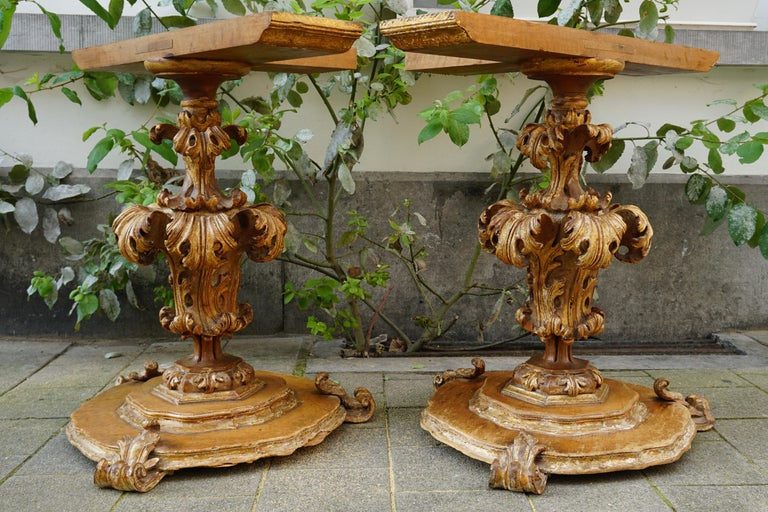 18th Century and Earlier Extraordinary Italian Baroque Gilt Wood Table Supports Early 18th Century For Sale