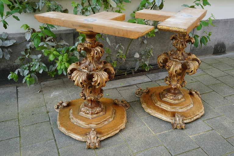Extraordinary Italian Baroque Gilt Wood Table Supports Early 18th Century For Sale 1