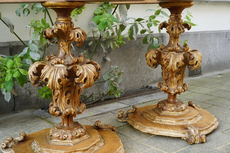 Extraordinary Italian Baroque Gilt Wood Table Supports Early 18th Century For Sale 2