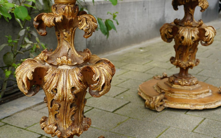 Extraordinary Italian Baroque Gilt Wood Table Supports Early 18th Century For Sale 3