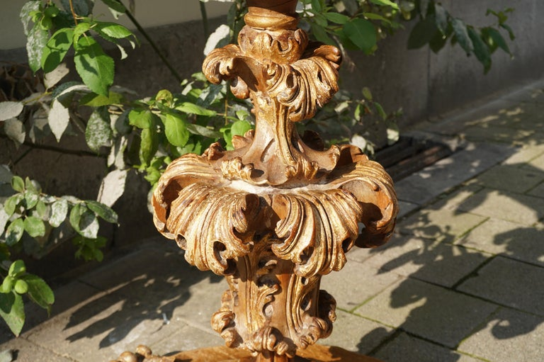 Extraordinary Italian Baroque Gilt Wood Table Supports Early 18th Century For Sale 4