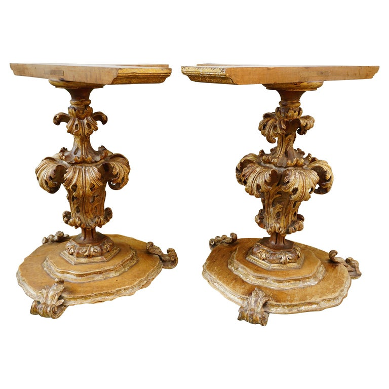 Extraordinary Italian Baroque Gilt Wood Table Supports Early 18th Century For Sale