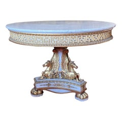 Extraordinary Italian Parcel-Gilt and Ivory Painted Centre Table, 1830