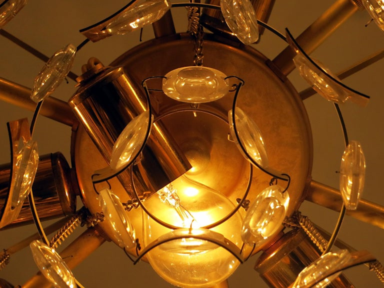 Large & Extraordinary Midcentury Brutalist Gilt Brass & Crystal Chandelier 1960s For Sale 6